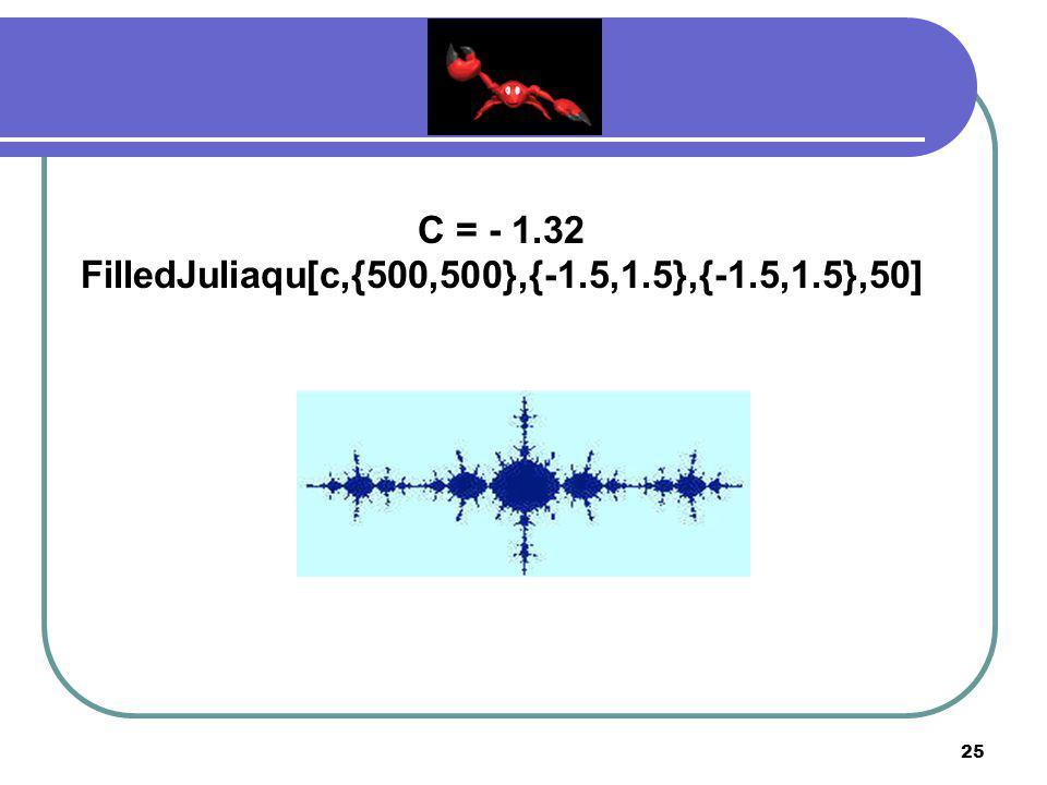 24 C = - 0.11 + 0.86I FilledJuliaqu[c,{500,500},{-1.5,1.5},{-1.5,1.5},30]