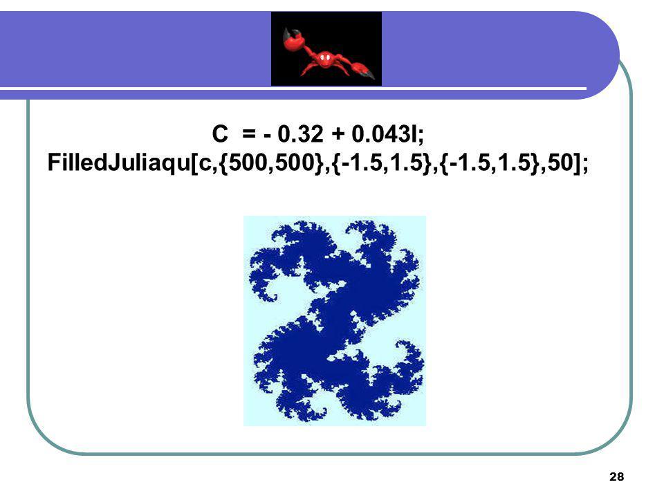 27 C = - 0.360284 + 0.100376I; FilledJuliaqu[c,{500,500},{-1.5,1.5},{-1.5,1.5},50];