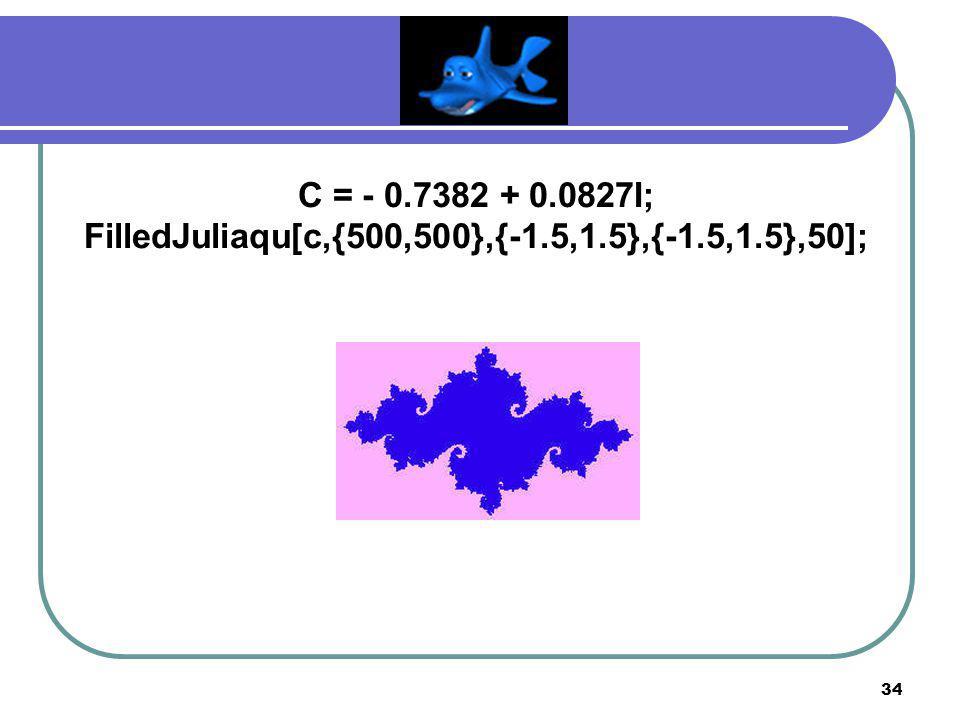 33 C = - 0.75 + 0.1I; FilledJuliaqu[c,{400,400},{-1.5,1.5},{-1.5,1.5},40];