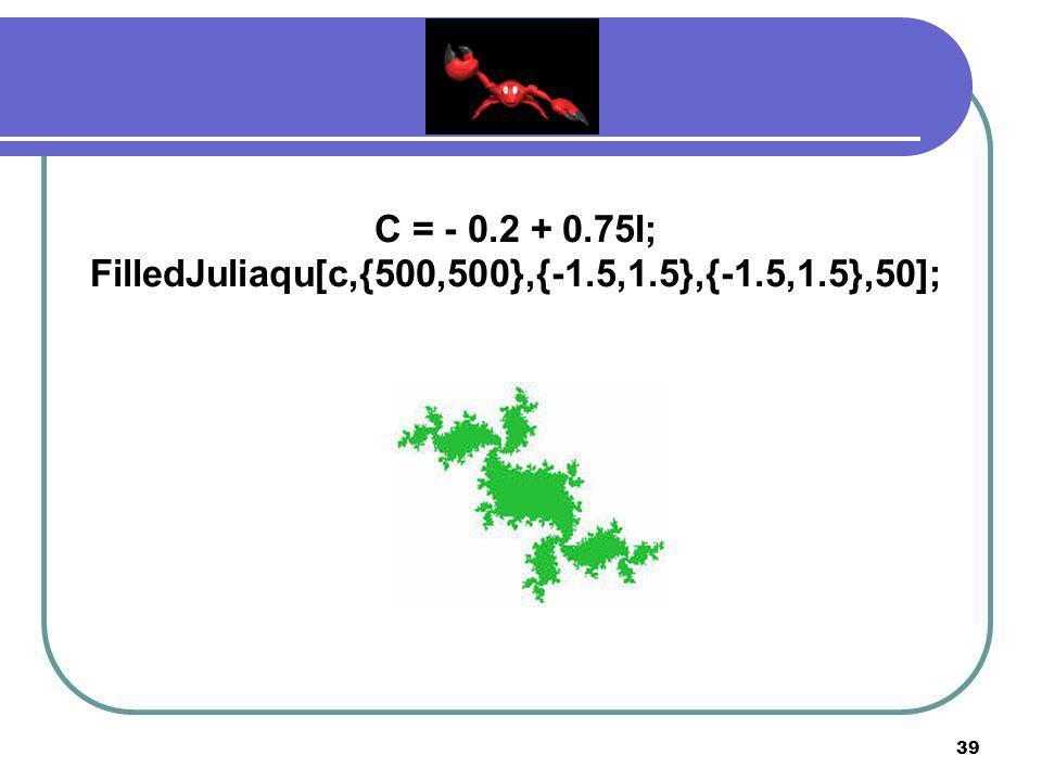 38 C = 0.27334 + 0.00742I; FilledJuliaqu[c,{500,500},{-1.5,1.5},{-1.5,1.5},50];