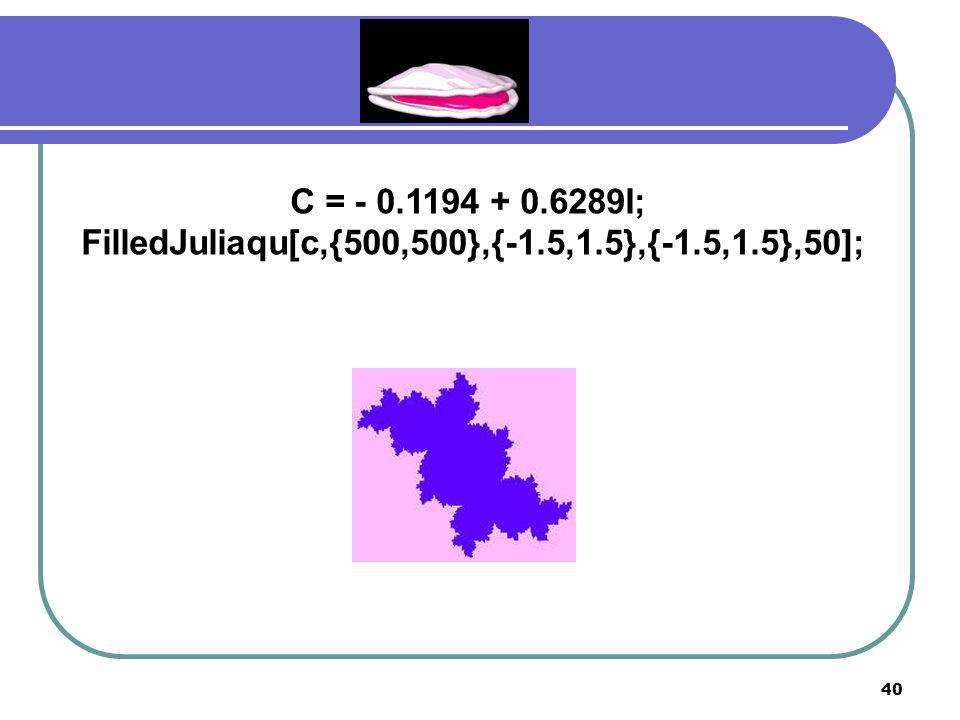 39 C = - 0.2 + 0.75I; FilledJuliaqu[c,{500,500},{-1.5,1.5},{-1.5,1.5},50];