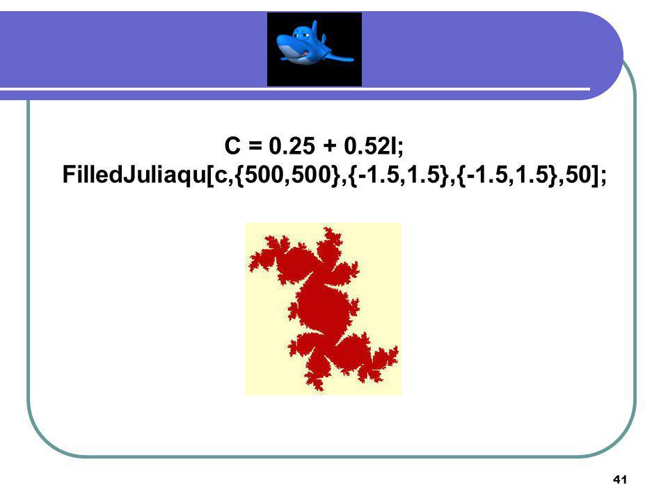 40 C = - 0.1194 + 0.6289I; FilledJuliaqu[c,{500,500},{-1.5,1.5},{-1.5,1.5},50];