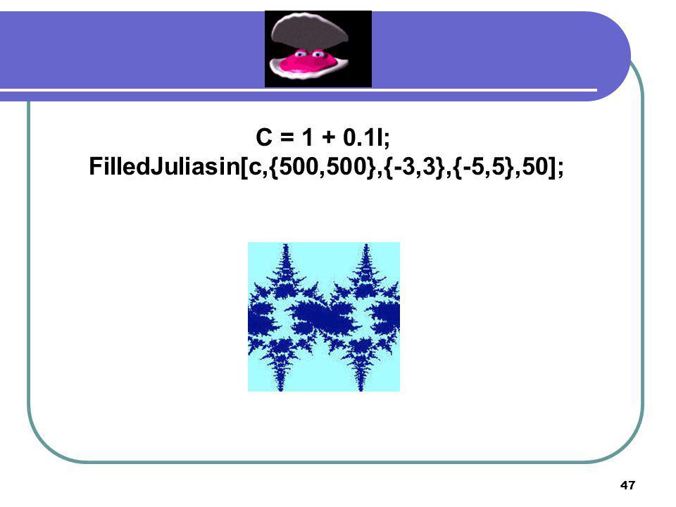 46 C = 1 + 0.2I; FilledJuliasin[c,{600,600},{-1.5,1.5},{-1.5,1.5},50];