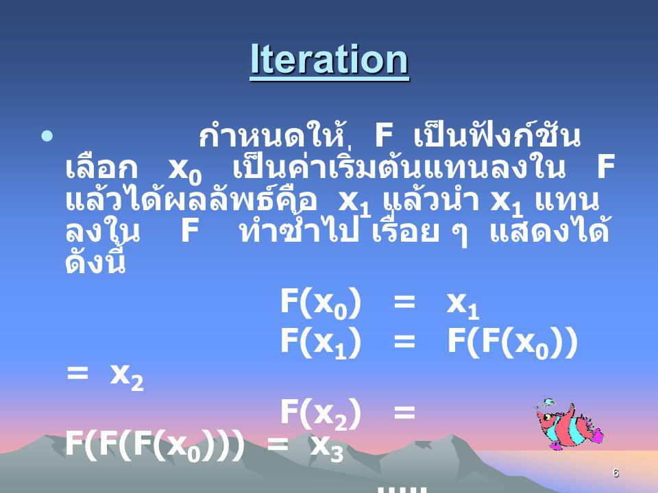 5 Fractal คือ วัตถุหรือสิ่งที่ถูกมองทาง เรขาคณิตซึ่งมีการเปลี่ยนแปลงทั้ง ขนาดและทิศทางอยู่ตลอดเวลาโดยมี การเปลี่ยนแปลงในลักษณะเดิมซ้ำ ๆ กันไปเรื่อย ๆ