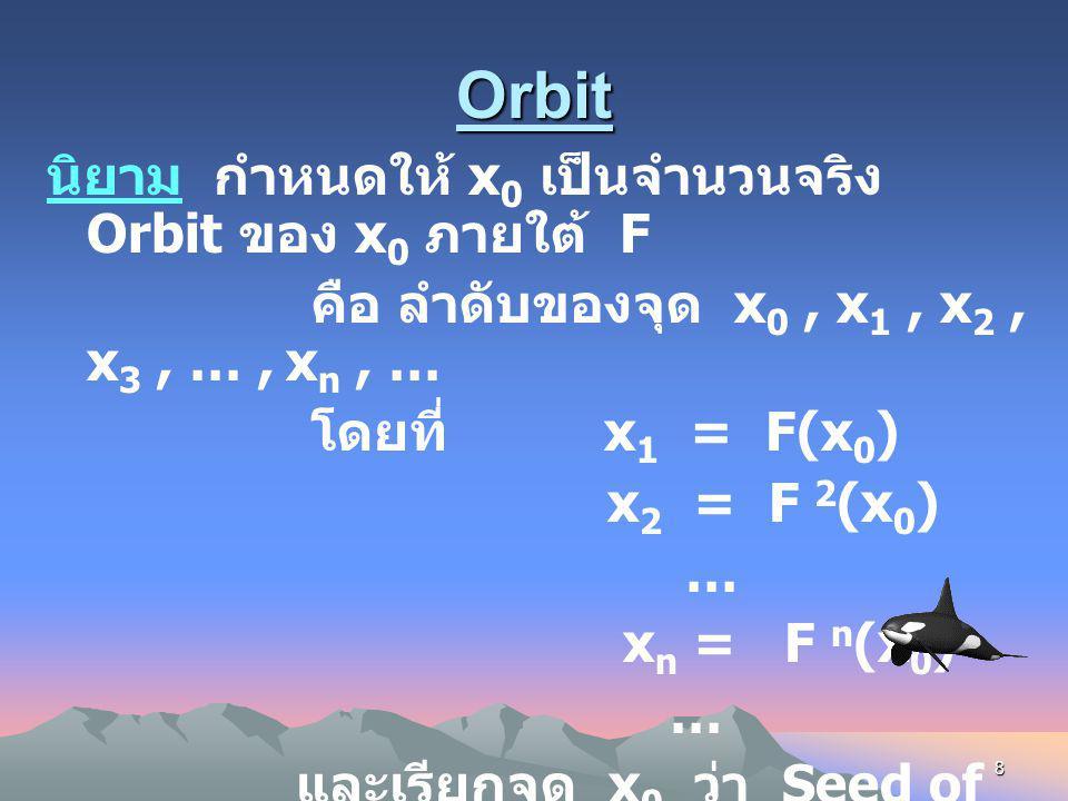 7 เราแทนการทำซ้ำ n ครั้ง ด้วย F n (x 0 ) และเรียกว่า iterat อันดับที่ n ของ F เช่น F(F( x 0 )) = F 2 (x 0 ) เรียกว่า iterat อันดับที่ 2 ของ F ตัวอย่าง