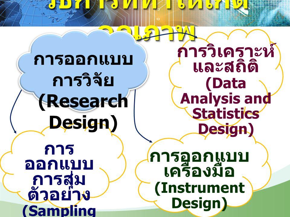 วิธีการที่ทำให้เกิด คุณภาพ การออกแบบ การวิจัย (Research Design) การ ออกแบบ การสุ่ม ตัวอย่าง (Sampling Design) การออกแบบ เครื่องมือ (Instrument Design)