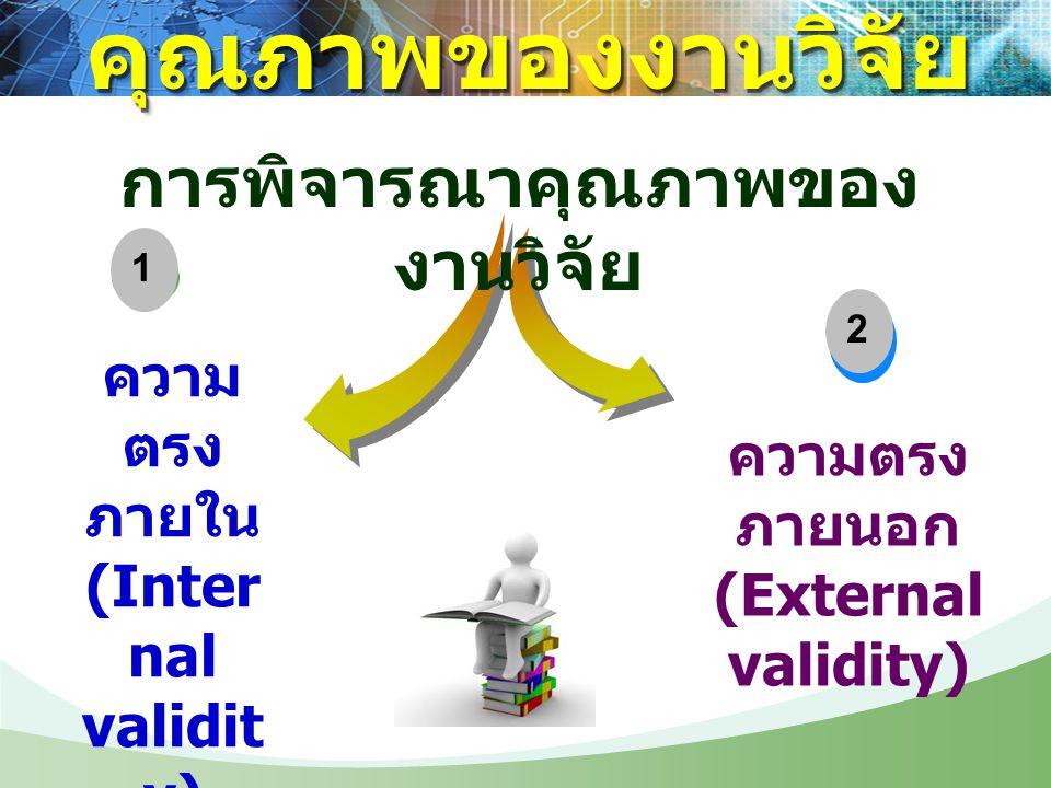 ความ ตรง ภายใน (Inter nal validit y) 3 ความตรง ภายนอก (External validity) การพิจารณาคุณภาพของ งานวิจัย 12 คุณภาพของงานวิจัยคุณภาพของงานวิจัย