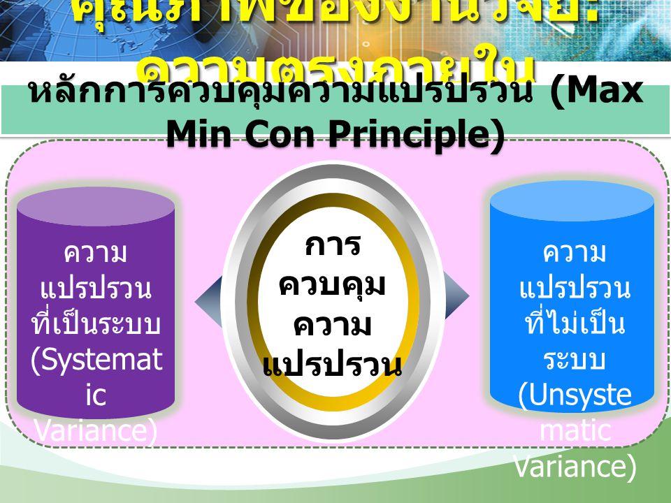 การ ควบคุม ความ แปรปรวน ความ แปรปรวน ที่เป็นระบบ (Systemat ic Variance) ความ แปรปรวน ที่ไม่เป็น ระบบ (Unsyste matic Variance) คุณภาพของงานวิจัย : ความ