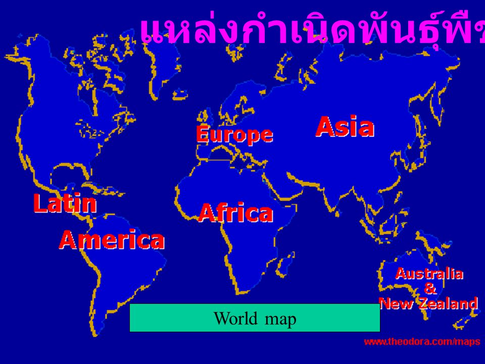 World map แหล่งกำเนิดพันธุ์พืช