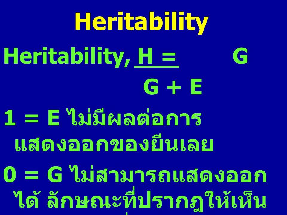 Heritability Heritability, H = G G + E 1 = E ไม่มีผลต่อการ แสดงออกของยีนเลย 0 = G ไม่สามารถแสดงออก ได้ ลักษณะที่ปรากฎให้เห็น เป็นผลอันเนื่องมาจาก สภาพ