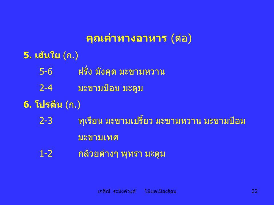 เกศิณี ระมิงค์วงศ์ ไม้ผลเมืองร้อน 22 คุณค่าทางอาหาร ( ต่อ ) 5. เส้นใย ( ก.) 5-6 ฝรั่ง มังคุด มะขามหวาน 2-4 มะขามป้อม มะตูม 6. โปรตีน ( ก.) 2-3 ทุเรียน