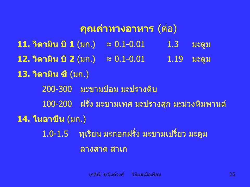 เกศิณี ระมิงค์วงศ์ ไม้ผลเมืองร้อน 25 คุณค่าทางอาหาร ( ต่อ ) 11. วิตามิน บี 1 (มก.) ≈ 0.1-0.01 1.3มะตูม 12. วิตามิน บี 2 (มก.) ≈ 0.1-0.011.19มะตูม 13.