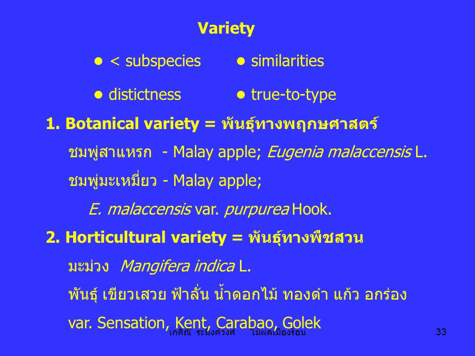 เกศิณี ระมิงค์วงศ์ ไม้ผลเมืองร้อน 33 Variety ● < subspecies ● similarities ● distictness ● true-to-type 1. Botanical variety = พันธุ์ทางพฤกษศาสตร์ ชมพ