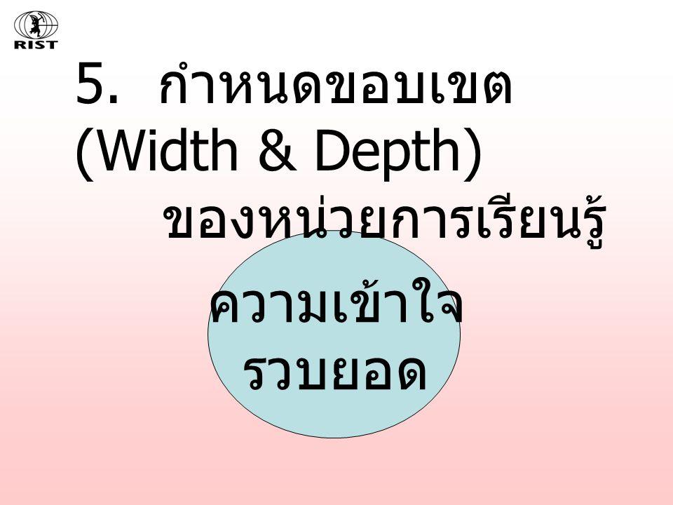 5. กำหนดขอบเขต (Width & Depth) ของหน่วยการเรียนรู้ ความเข้าใจ รวบยอด