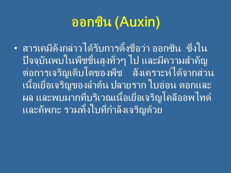 ออกซิน (Auxin) สารเคมีดังกล่าวได้รับการตั้งชื่อว่า ออกซิน ซึ่งใน ปัจจุบันพบในพืชชั้นสูงทั่วๆ ไป และมีความสำคัญ ต่อการเจริญเติบโตของพืช สังเคราะห์ได้จา