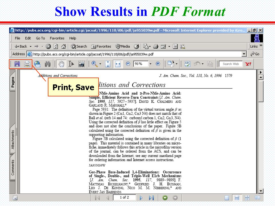 Show Results in PDF Format Print, Save
