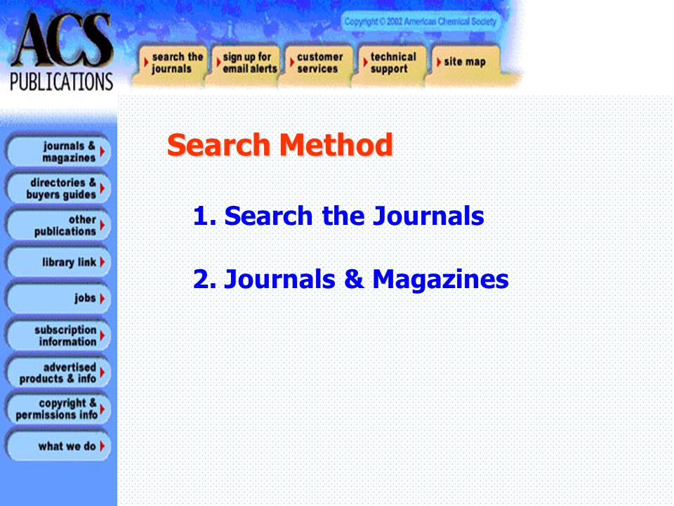 1. Search the Journals 2. Journals & Magazines Search Method Search Method