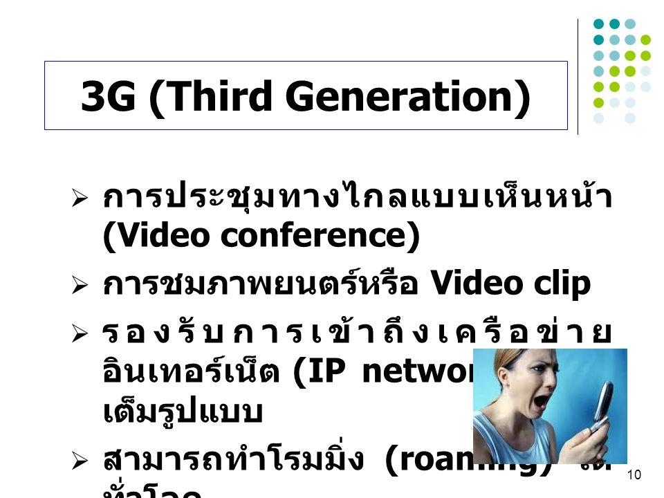 10  การประชุมทางไกลแบบเห็นหน้า (Video conference)  การชมภาพยนตร์หรือ Video clip  รองรับการเข้าถึงเครือข่าย อินเทอร์เน็ต (IP network) อย่าง เต็มรูปแ