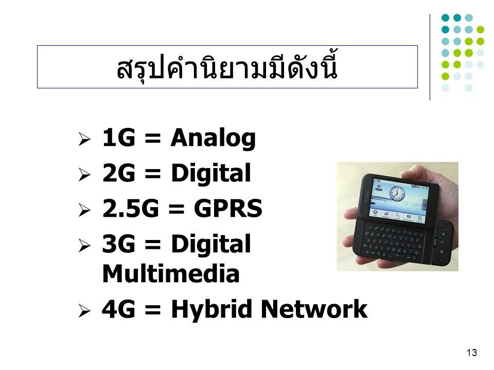 13  1G = Analog  2G = Digital  2.5G = GPRS  3G = Digital Multimedia  4G = Hybrid Network สรุปคำนิยามมีดังนี้