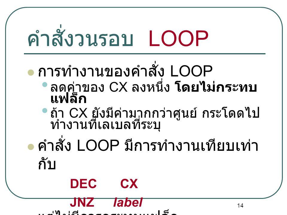 14 คำสั่งวนรอบ LOOP การทำงานของคำสั่ง LOOP ลดค่าของ CX ลงหนึ่ง โดยไม่กระทบ แฟล็ก ถ้า CX ยังมีค่ามากกว่าศูนย์ กระโดดไป ทำงานที่เลเบลที่ระบุ คำสั่ง LOOP