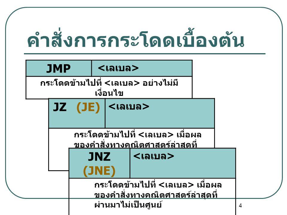 4 คำสั่งการกระโดดเบื้องต้น JMP กระโดดข้ามไปที่ อย่างไม่มี เงื่อนไข JZ (JE) กระโดดข้ามไปที่ เมื่อผล ของคำสั่งทางคณิตศาสตร์ล่าสุดที่ ผ่านมาเป็นศูนย์ JNZ
