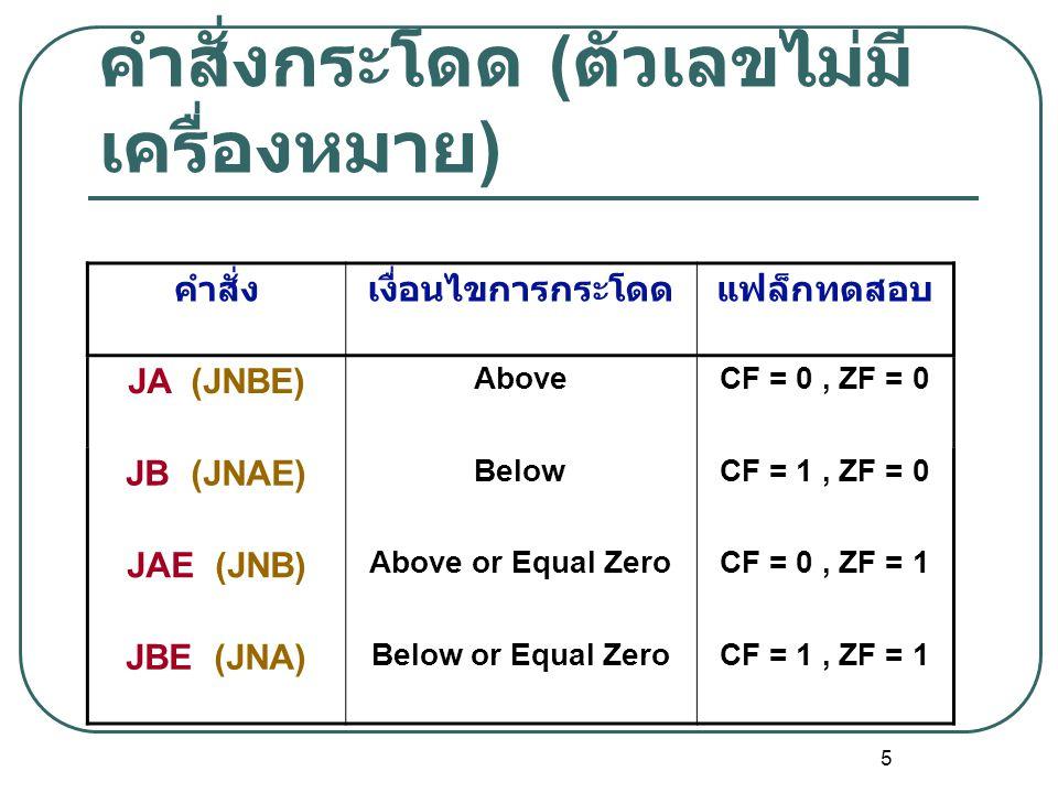 6 คำสั่งกระโดด ( ตัวเลขมี เครื่องหมาย ) คำสั่งเงื่อนไขการกระโดดแฟล็กทดสอบ JG (JNLE) GreaterOF = SF, ZF = 0 JL (JNGE) LessOF ≠ SF, ZF = 0 JGE (JNL) Greater or Equal ZeroOF = SF, ZF = 1 JLE (JNG) Less or Equal ZeroOF ≠ SF, ZF = 1