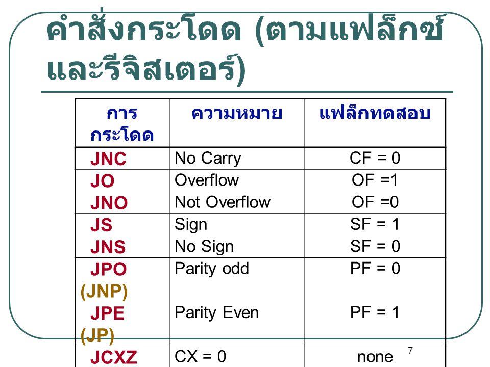 7 คำสั่งกระโดด ( ตามแฟล็กซ์ และรีจิสเตอร์ ) การ กระโดด ความหมายแฟล็กทดสอบ JNC No CarryCF = 0 JO OverflowOF =1 JNO Not OverflowOF =0 JS SignSF = 1 JNS