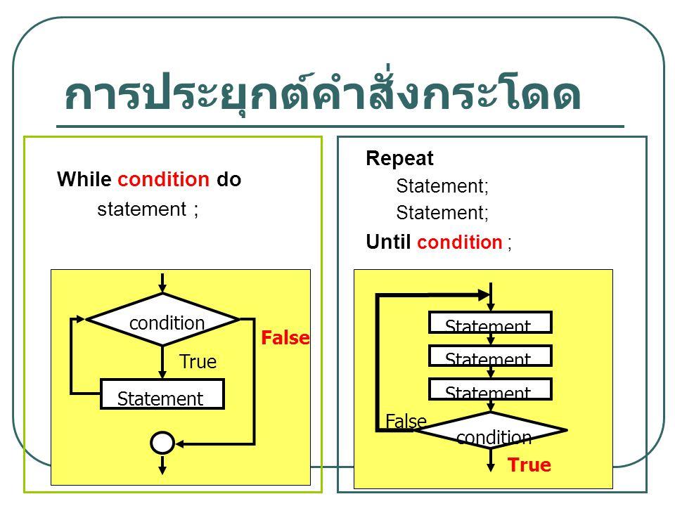 9 การประยุกต์คำสั่งกระโดด condition False True Statement condition False True Statement While condition do statement ; Repeat Statement; Until conditi