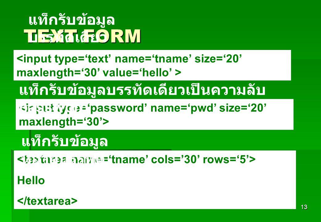 13 TEXT FORM Hello แท็กรับข้อมูล บรรทัดเดียว แท็กรับข้อมูล หลายบรรทัด แท็กรับข้อมูลบรรทัดเดียวเป็นความลับ password