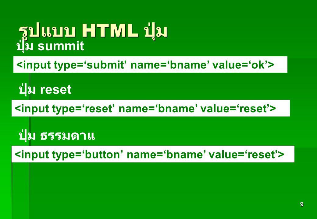 9 รูปแบบ HTML ปุ่ม ปุ่ม summit ปุ่ม reset ปุ่ม ธรรมดาแ
