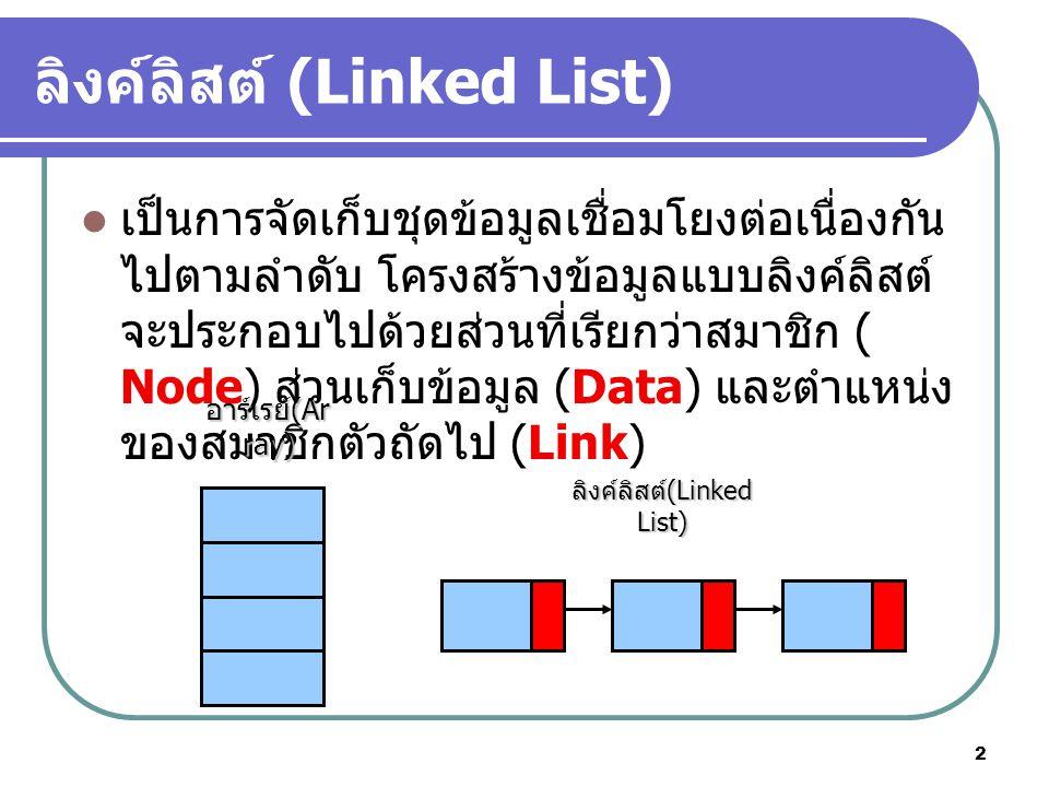 2 เป็นการจัดเก็บชุดข้อมูลเชื่อมโยงต่อเนื่องกัน ไปตามลำดับ โครงสร้างข้อมูลแบบลิงค์ลิสต์ จะประกอบไปด้วยส่วนที่เรียกว่าสมาชิก ( Node) ส่วนเก็บข้อมูล (Data) และตำแหน่ง ของสมาชิกตัวถัดไป (Link) อาร์เรย์ (Ar ray) ลิงค์ลิสต์ (Linked List)