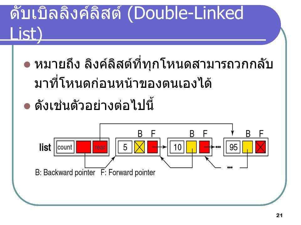21 ดับเบิลลิงค์ลิสต์ (Double-Linked List) หมายถึง ลิงค์ลิสต์ที่ทุกโหนดสามารถวกกลับ มาที่โหนดก่อนหน้าของตนเองได้ ดังเช่นตัวอย่างต่อไปนี้