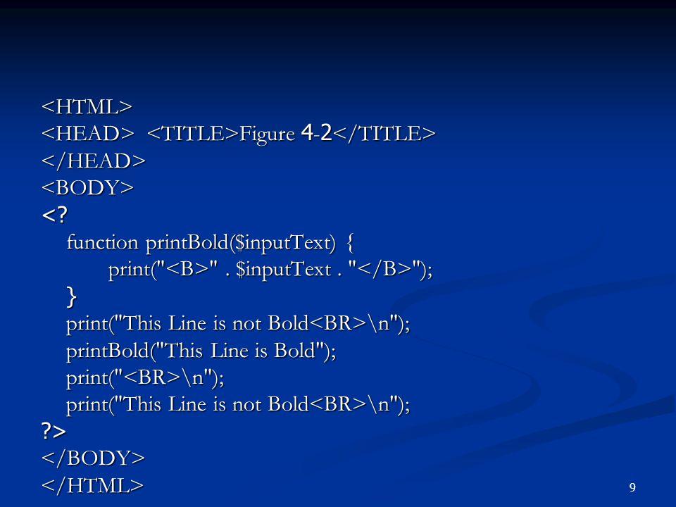 20 การกำหนดตัวแปรแบบ static ภายในฟังก์ชัน ตัวแปรภายในฟังก์ชันจะสามารถเก็บค่าไว้ได้ ตลอดเวลาโดยไม่สูญหายไป function MyFunc() { static $num_func_calls = 0; static $num_func_calls = 0; echo my function\n ; echo my function\n ; return ++$num_func_calls; return ++$num_func_calls; }