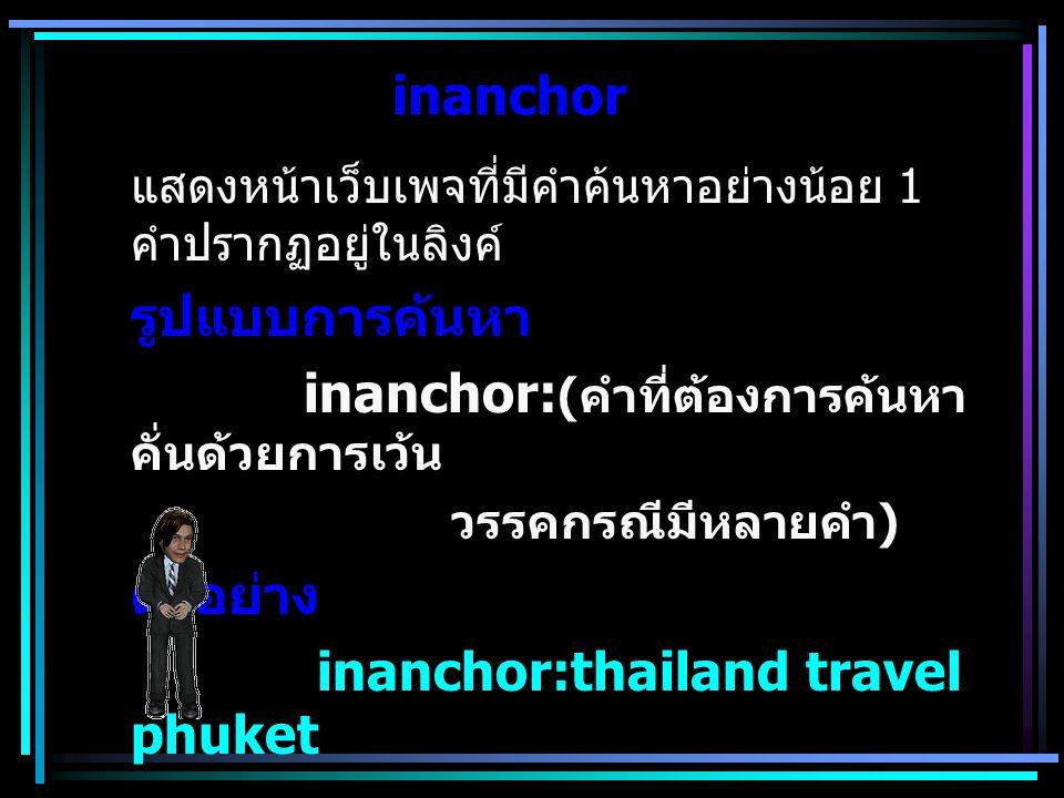 inanchor แสดงหน้าเว็บเพจที่มีคำค้นหาอย่างน้อย 1 คำปรากฏอยู่ในลิงค์ รูปแบบการค้นหา inanchor: ( คำที่ต้องการค้นหา คั่นด้วยการเว้น วรรคกรณีมีหลายคำ ) ตัว
