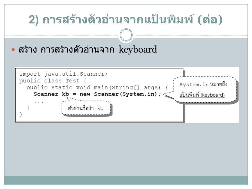 2) การสร้างตัวอ่านจากแป้นพิมพ์ ( ต่อ ) สร้าง การสร้างตัวอ่านจาก keyboard