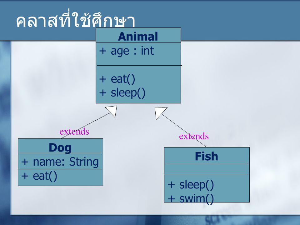 คลาสที่ใช้ศึกษา Animal + age : int + eat() + sleep() extends Dog + name: String + eat() Fish + sleep() + swim() extends