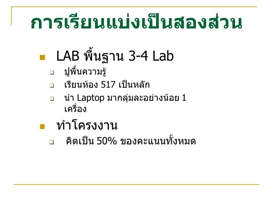 การเรียนแบ่งเป็นสองส่วน LAB พื้นฐาน 3-4 Lab  ปูพื้นความรู้  เรียนห้อง 517 เป็นหลัก  นำ Laptop มากลุ่มละอย่างน้อย 1 เครื่อง ทำโครงงาน  คิดเป็น 50%