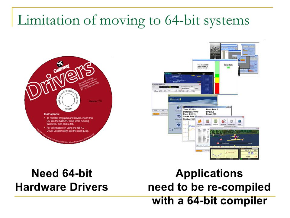 Limitation of moving to 64-bit systems Need 64-bit Hardware Drivers Applications need to be re-compiled with a 64-bit compiler
