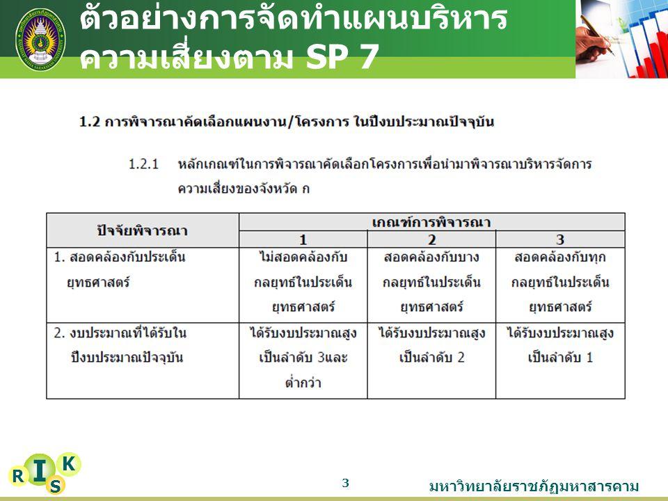 มหาวิทยาลัยราชภัฏมหาสารคาม 4 I K R S ตัวอย่างการจัดทำแผนบริหาร ความเสี่ยงตาม SP 7