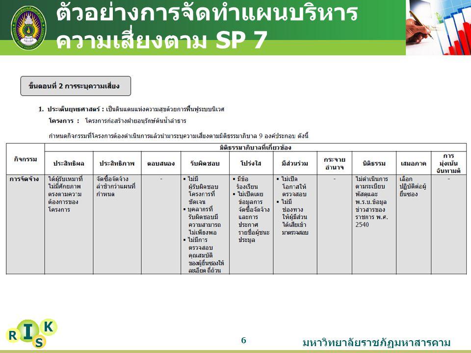 มหาวิทยาลัยราชภัฏมหาสารคาม 6 I K R S ตัวอย่างการจัดทำแผนบริหาร ความเสี่ยงตาม SP 7