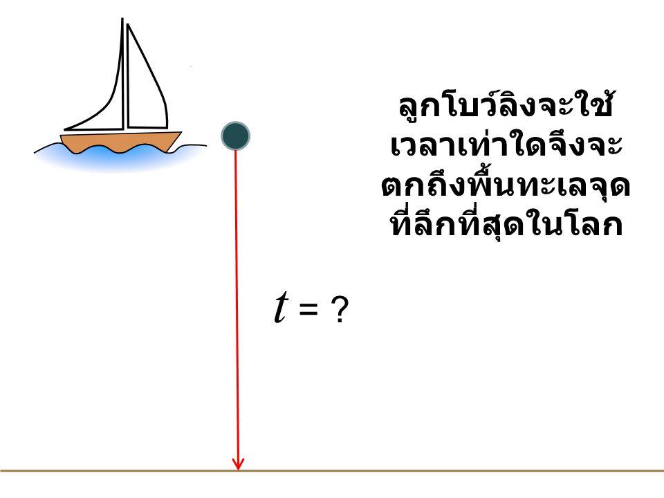ลูกโบว์ลิงจะใช้ เวลาเท่าใดจึงจะ ตกถึงพื้นทะเลจุด ที่ลึกที่สุดในโลก t = ?