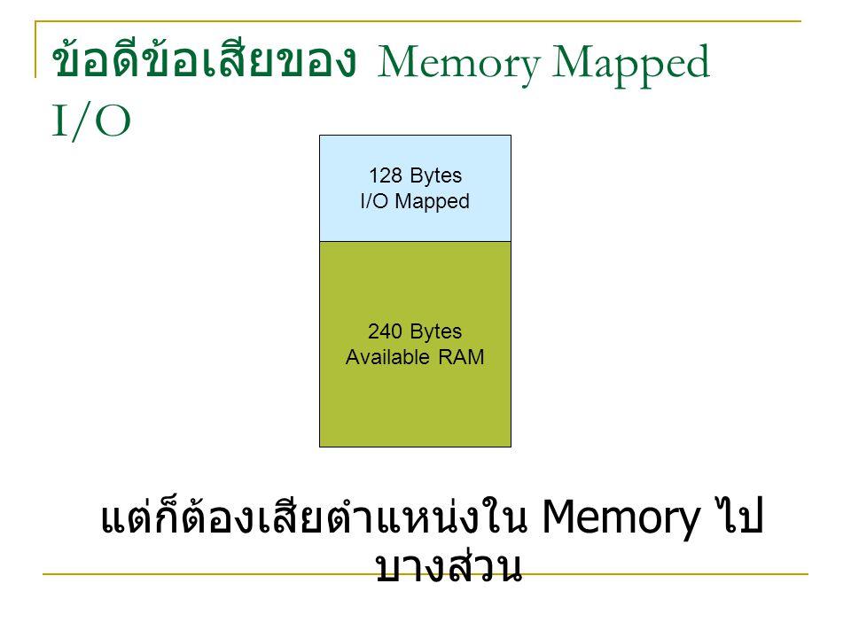 ข้อดีข้อเสียของ Memory Mapped I/O แต่ก็ต้องเสียตำแหน่งใน Memory ไป บางส่วน 128 Bytes I/O Mapped 240 Bytes Available RAM