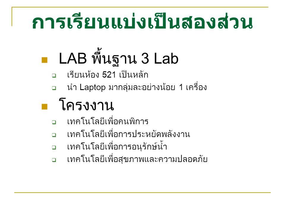 การเรียนแบ่งเป็นสองส่วน LAB พื้นฐาน 3 Lab  เรียนห้อง 521 เป็นหลัก  นำ Laptop มากลุ่มละอย่างน้อย 1 เครื่อง โครงงาน  เทคโนโลยีเพื่อคนพิการ  เทคโนโลย