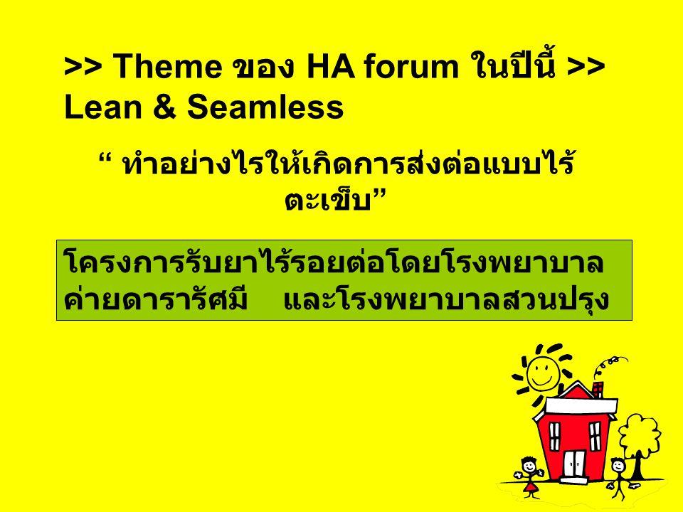 ">> Theme ของ HA forum ในปีนี้ >> Lean & Seamless "" ทำอย่างไรให้เกิดการส่งต่อแบบไร้ ตะเข็บ "" โครงการรับยาไร้รอยต่อโดยโรงพยาบาล ค่ายดารารัศมี และโรงพยาบ"