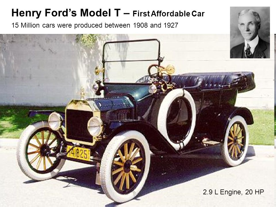 Henry Ford's Model T – First Affordable Car 15 Million cars were produced between 1908 and 1927 2.9 L Engine, 20 HP