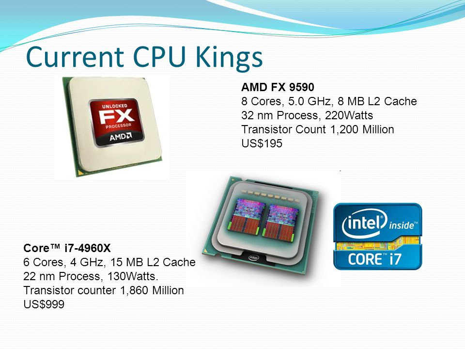 Current CPU Kings Core™ i7-4960X 6 Cores, 4 GHz, 15 MB L2 Cache 22 nm Process, 130Watts.