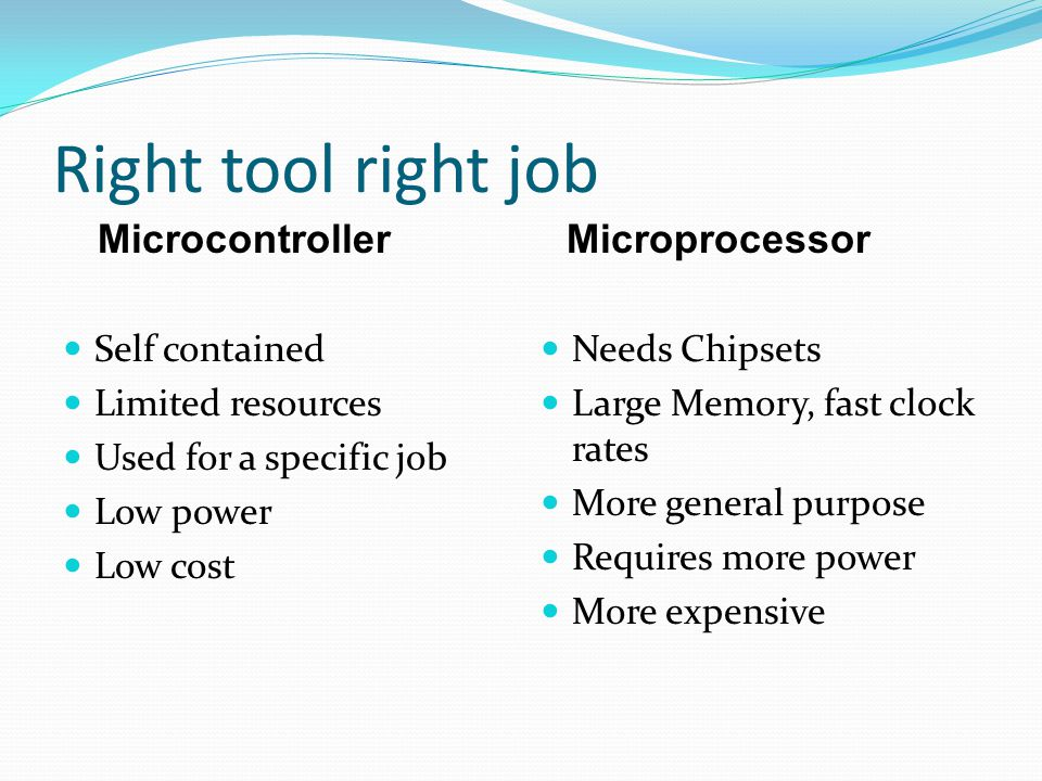 Right tool right job Self contained Limited resources Used for a specific job Low power Low cost Needs Chipsets Large Memory, fast clock rates More general purpose Requires more power More expensive MicrocontrollerMicroprocessor