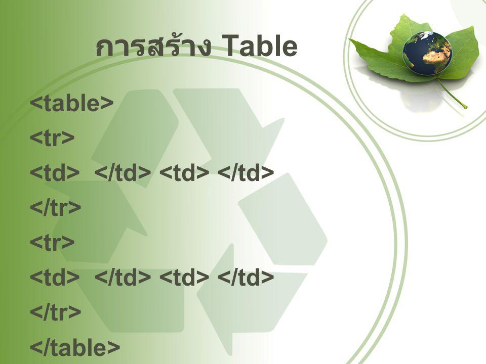 การสร้าง Table