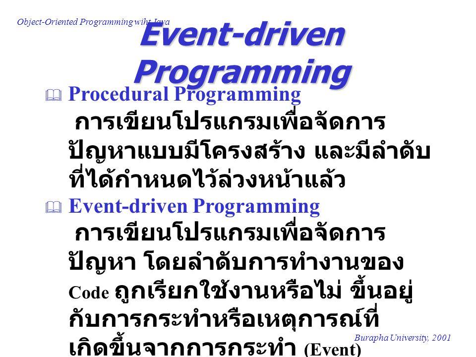 Object-Oriented Programming wiht Java Burapha University, 2001 Event-driven Programming  Procedural Programming การเขียนโปรแกรมเพื่อจัดการ ปัญหาแบบมี