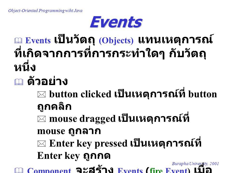 Object-Oriented Programming wiht Java Burapha University, 2001 Events  Events เป็นวัตถุ (Objects) แทนเหตุการณ์ ที่เกิดจากการที่การกระทำใดๆ กับวัตถุ หนึ่ง  ตัวอย่าง * button clicked เป็นเหตุการณ์ที่ button ถูกคลิก * mouse dragged เป็นเหตุการณ์ที่ mouse ถูกลาก * Enter key pressed เป็นเหตุการณ์ที่ Enter key ถูกกด  Component จะสร้าง Events (fire Event) เมื่อ เกิดเหตุการณ์หนึ่ง เหตุการณ์ใดขึ้นกับ Component นั้น
